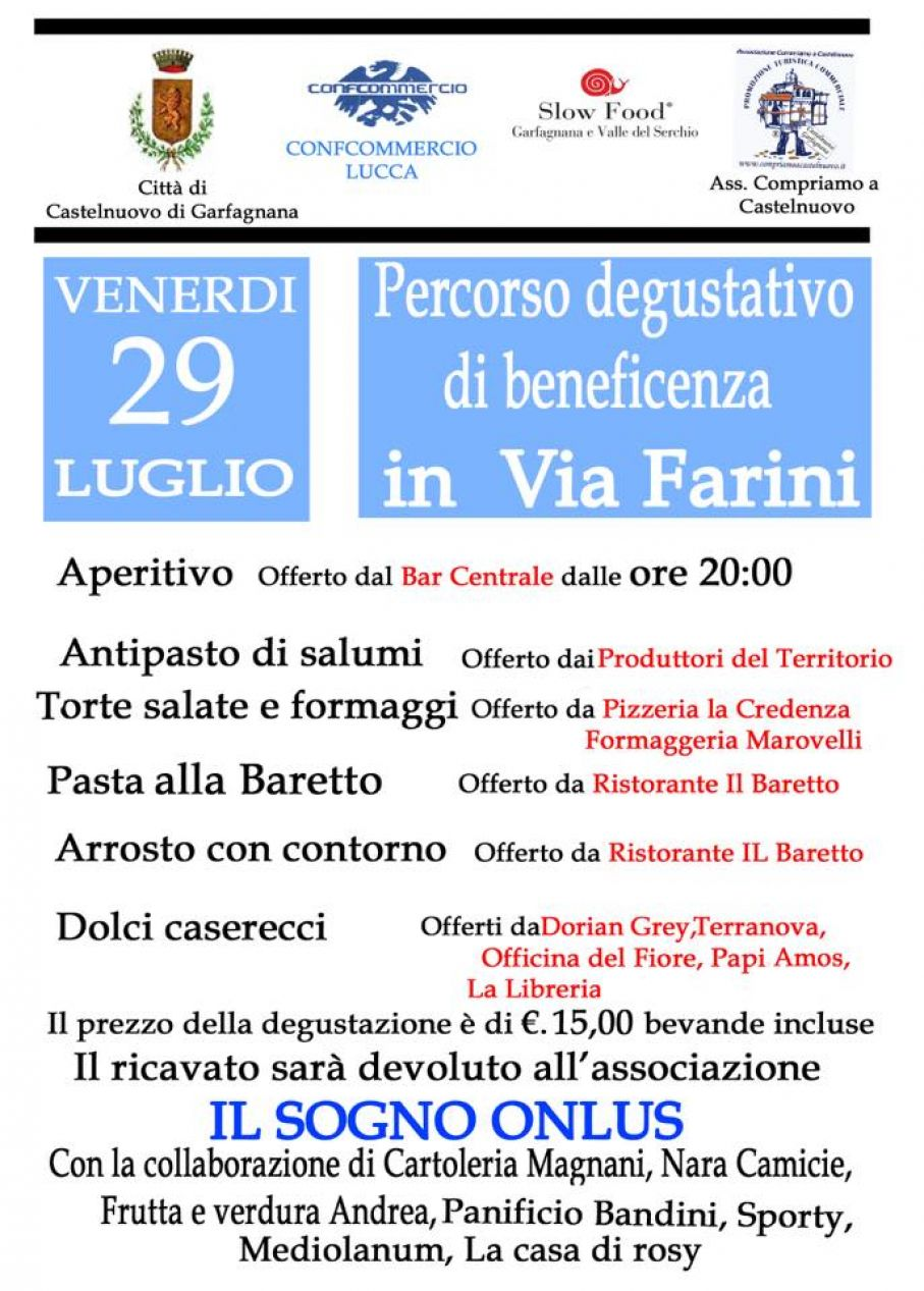 Cena di beneficenza in via Farini
